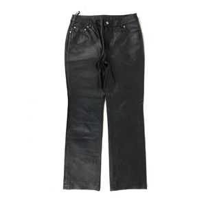 NEW PORT NEWS WOMEN BLACK LINED  LEATHER PANTS